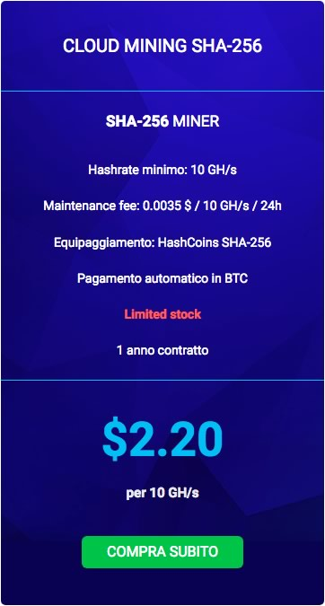 HashFlare, costi